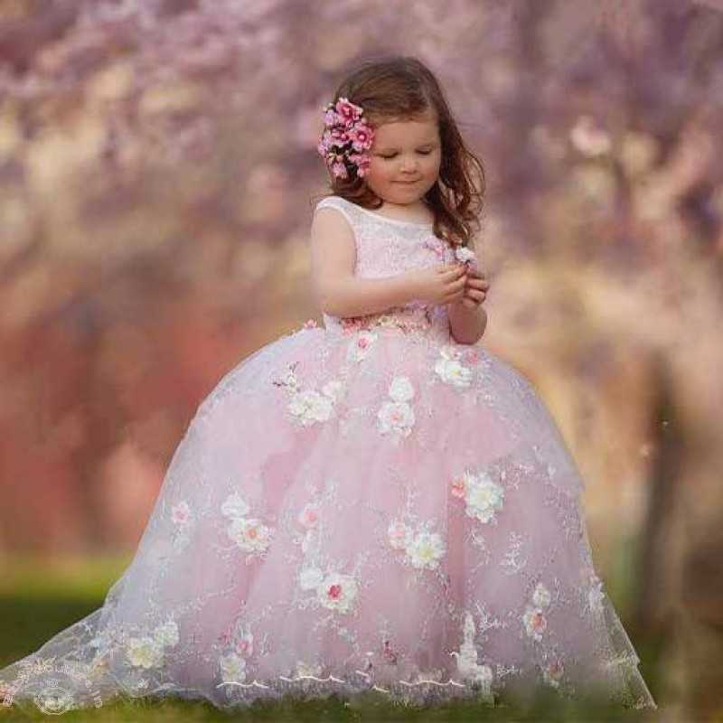 Buy Elegant Pink Embroidered Kids Party Gown Online