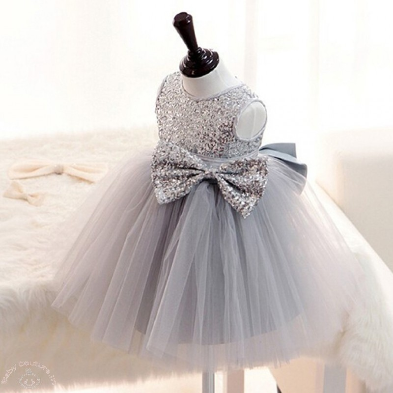 Silver Sequin Bow Ball Princess Baby Dress
