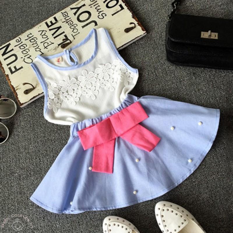 pearly_blue_chiffon_seamless_top_skirt_set