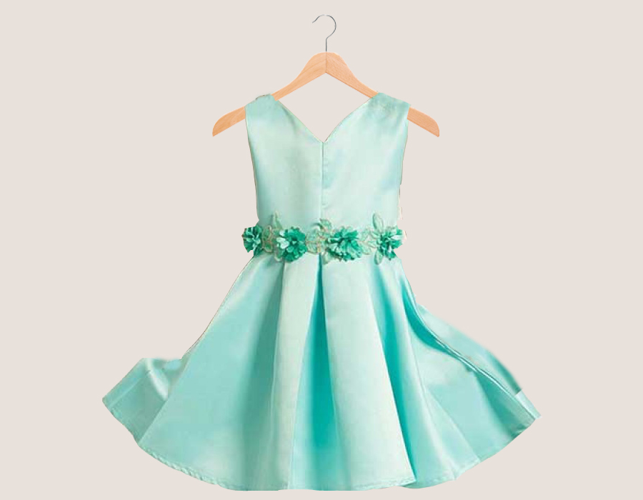 turquoise-satin-love-flower-party-dress2