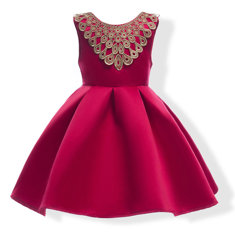 hot_pink_gold_lace_neck_kids_dress