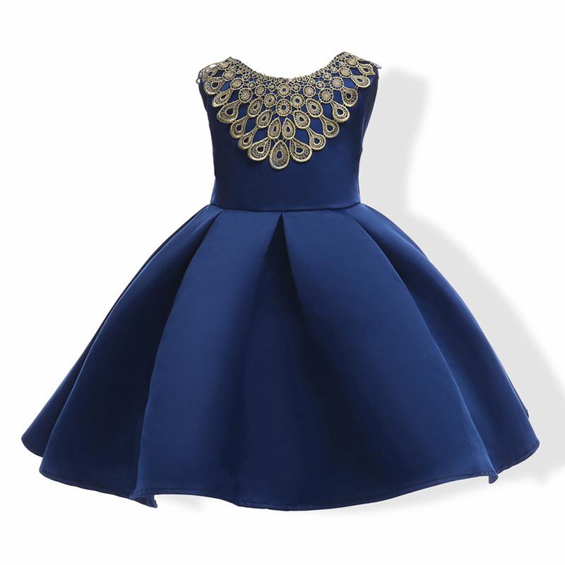 royal_blue_gold_lace_neck_kids_dress