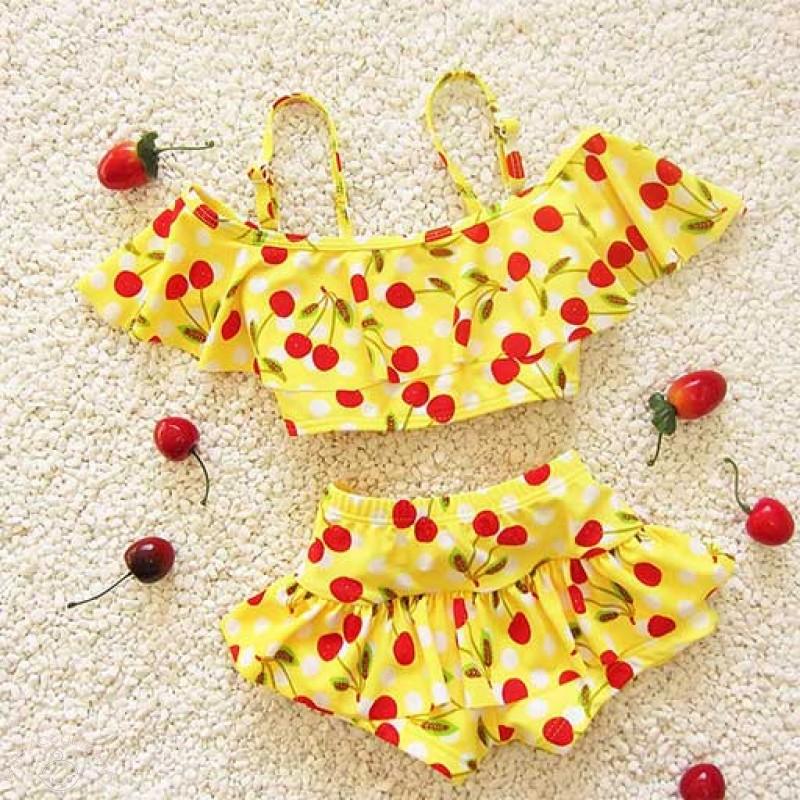 Buy Bright Yellow Cherries Kids Swimwear Online