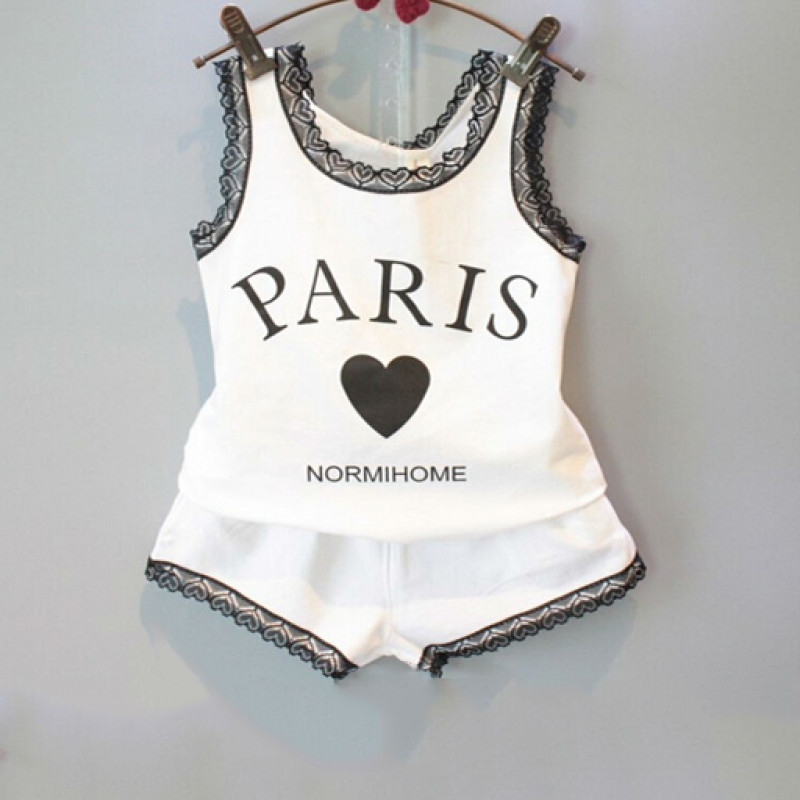 black_lace_casual_paris_love_shorts_set