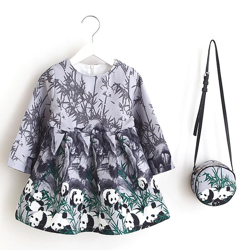 grey-cute-panda-kids-dress-with-bag