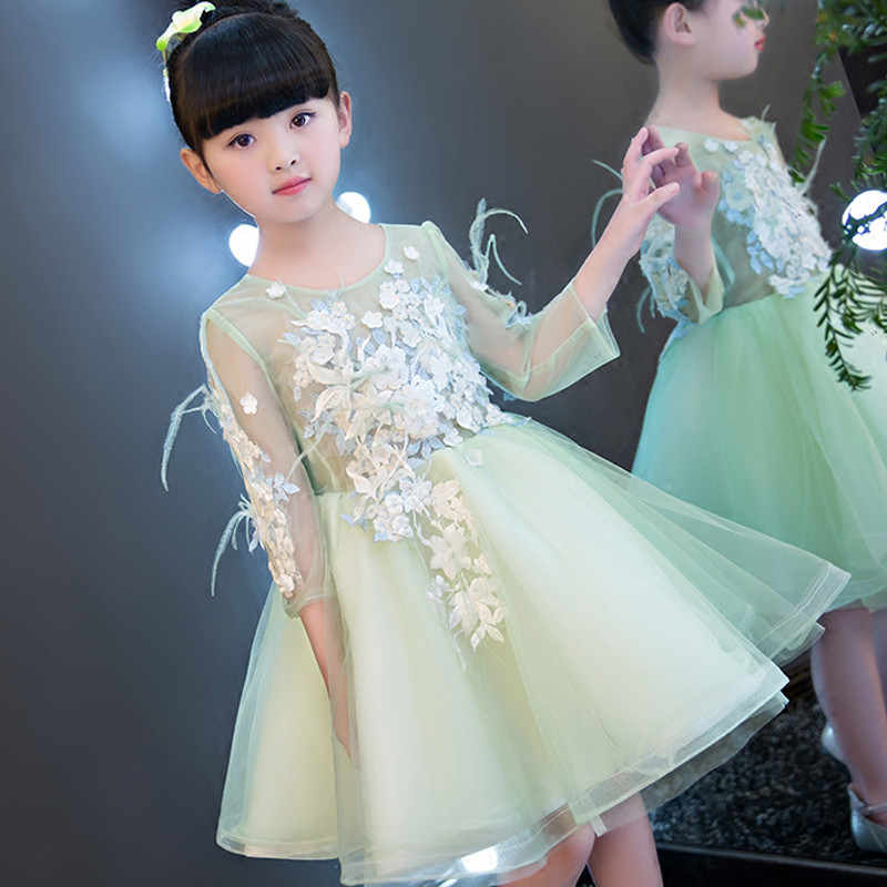 minty-feather-flower-bloom-kids-party-dress