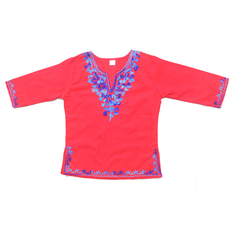 swankyme_red_blue_embroidered_kurti