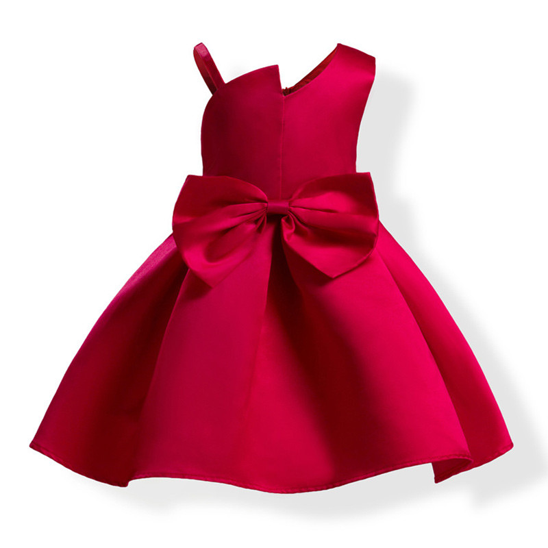 wine_stylish_neck_big_bow_kids_dress
