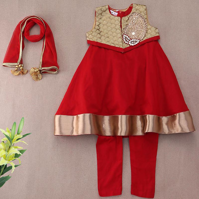 saka_red_and_golden_traditional_party_kids_kurta_jacket_set