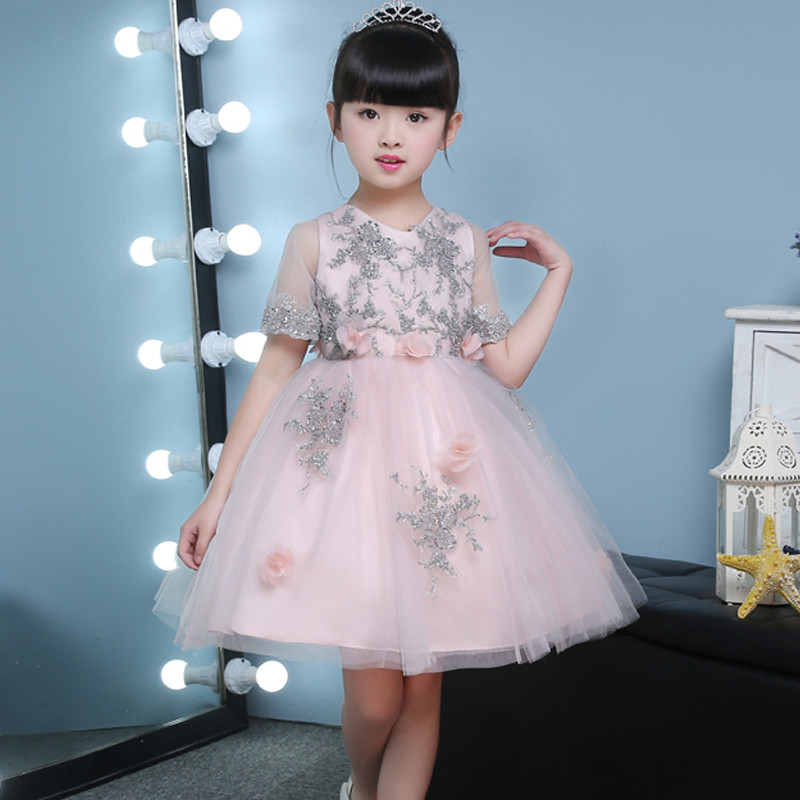 silver-embellished-lovely-peachy-kids-party-dress