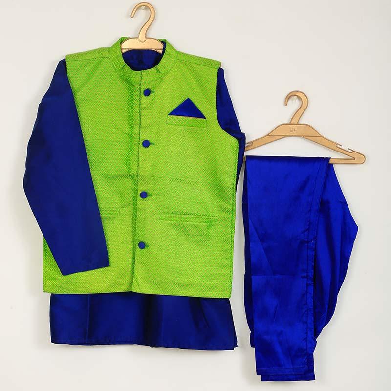 saka_peacock_color_brocade_designer_boys_3_piece_ethnic_set