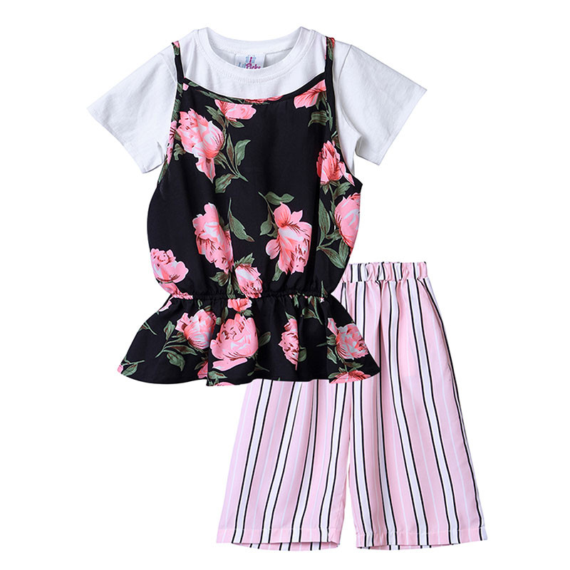 bb89902c9c08 This cool Lilpicks Smart Floral Multicolor Striped Girls 3pc Set will look  fabulous on your baby doll. The 3 pieces of this set include a round neck  ...