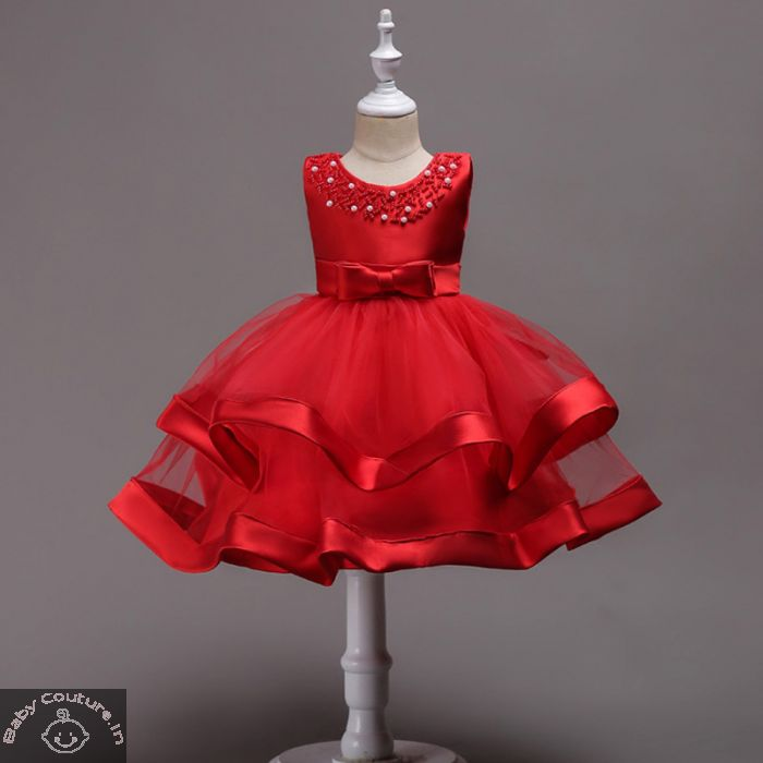 Elegant Red Rose Pearl Kids Dress