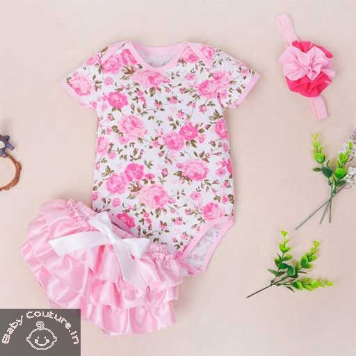 0f420924c54a Floral Love Baby Romper Bloomer Gift Set-babycouture.in