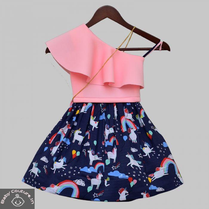 Fayon Kids Girls Unicorn Printed Skirt and Top Set
