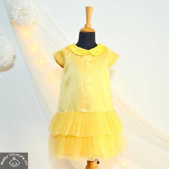 194b77f54e32 Tutu Kidswear Ochre Yellow Sequin Baby Girl Shift Dress