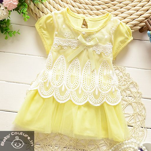 6dec64627 Yellow Baby Diva Lace Dress-babycouture.in