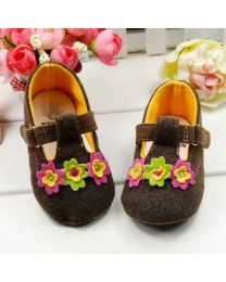 Beautiful Brown Flower Shoes-babycouture.in