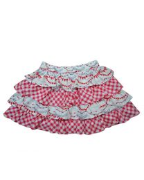 Bambiola Tiered Love and Checkered Baby Girl Skirt-babycouture.in