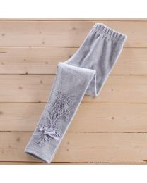 Aakriti Creations Stylish Grey Lace Work Leggings-babycouture.in
