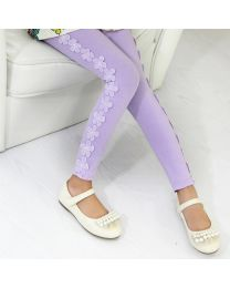 Aakriti Creations Beautiful Purple Floral Leggings-babycouture.in