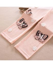 Aakriti Creations Peachy Pink 3D Embossed Butterfly Leggings-babycouture.in