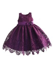 Aubergine Beautiful Crochet Kids Frock-babycouture.in