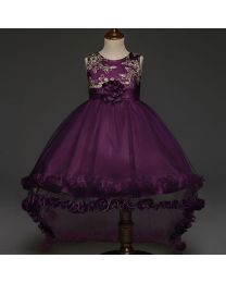 Aubergine & Gold Embroidered Kids Party High Low Dress-babycouture.in