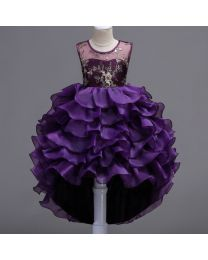 Aubergine & Gold Waves Kids High Low Party Dress-babycouture.in