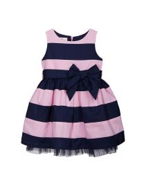 Bambiola Elegant Striped With Big Bow Baby Girl Dress-babycouture.in