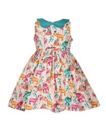 Bambiola Fun And Bold Animal Party Print Baby Girl Dress-babycouture.in