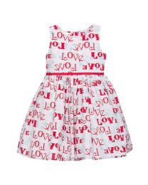 Bambiola Fun Love Print Baby Girl Dress-babycouture.in
