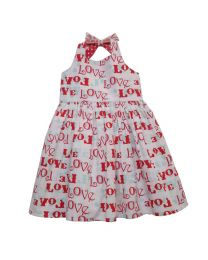 Bambiola Fun Love Print Halter Neck Baby Girl Dress-babycouture.in