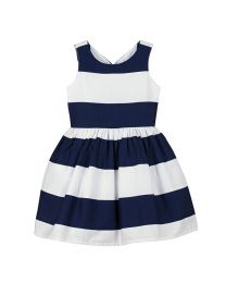 Bambiola Gorgeous Broad Striped Baby Girl Dress-babycouture.in