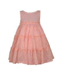 Bambiola Peach Airy Embroidered Baby Girl Dress-babycouture.in