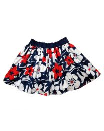 Bambiola Red & White Flower Print Baby Girl Skirt-babycouture.in