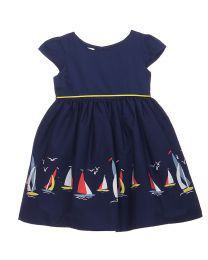 Bambiola Smart Navy Blue Sailor Border Print Baby Girl Dress-babycouture.in