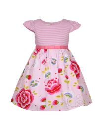Bambiola Striped And Pretty Floral Print Baby Girl Dress-babycouture.in