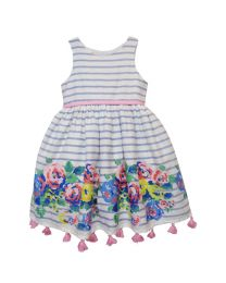 Bambiola Striped Floral Border Baby Girl Dress-babycouture.in