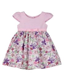 Bambiola Summer Flower Striped Baby Girl Dress-babycouture.in