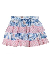 Bambiola Tiered Floral And Checkered Baby Girl Skirt-babycouture.in