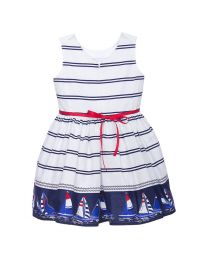 Bambiola Trendy Sailor Border Print Baby Girl Dress-babycouture.in