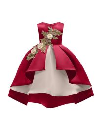 Beige & Wine Stylish High Low Kids Dress-babycouture.in