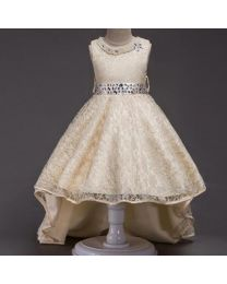 Beige Pearls Neck High Low Party Dress-babycouture.in