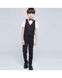 Black Handsome Boy Checkered Suit Set-babycouture.in