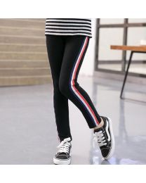 Black Striped Kids Legging-babycouture.in