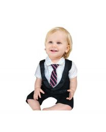 Black Tie Tuxedo Style Romper-babycouture.in