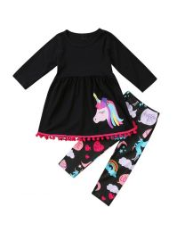 Black Unicorn Kids Pants Set- Babycouture.in