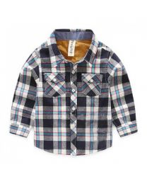 Blue & Grey Checkered Shirt-babycouture.in