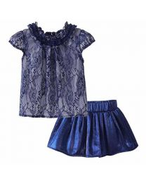 Blue Lace Kids Party Skirt Set-babycouture.in
